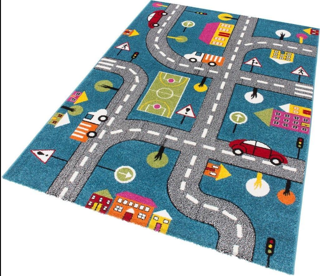 Tapis pour enfant Motif Play moderne Route Bleu Vert Gris ...