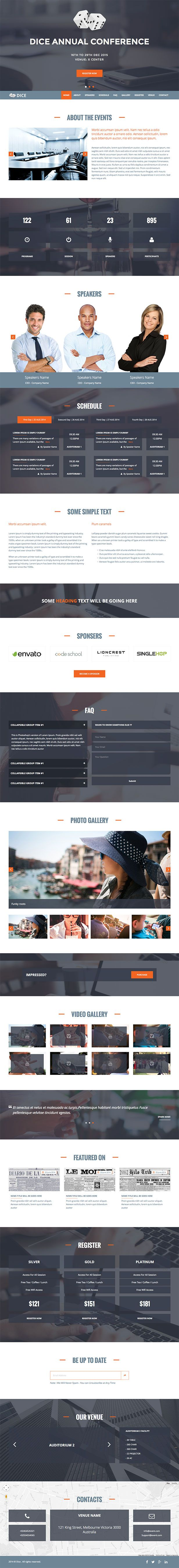 Dice : One Page Event and Conference HTML Template