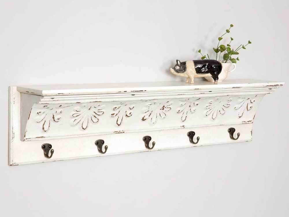 Bisque Wall Shelf With 5 Hooks Country Farmhouse Rustic Vintage