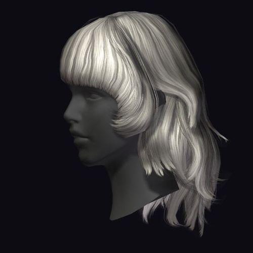 hair style 3d model lowpoly max obj fbx 3 Cheveux