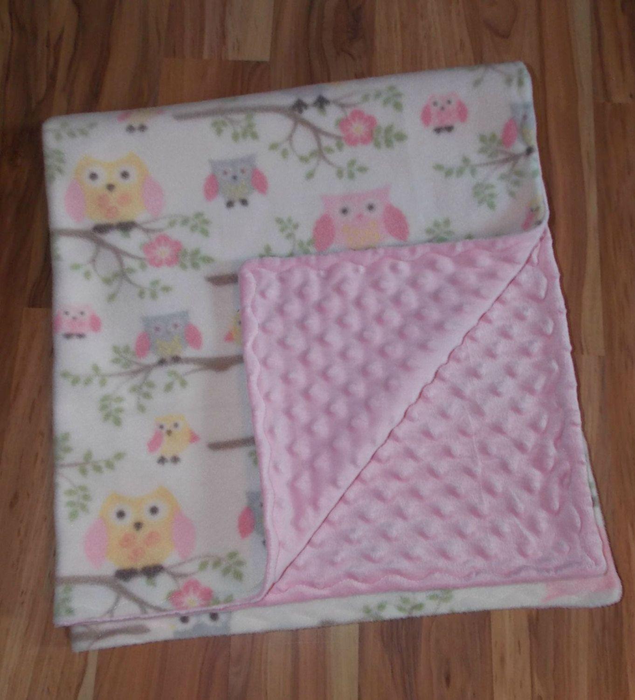 Baby blanket minkypink owl fleecepink minky dotready to ship