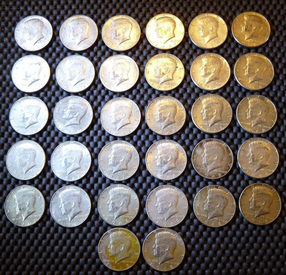 Http Is Gd Oxugok Ebay Lot Of 32 Coins 1965 1968 Kennedy Silver Half Dollars 50c 40 5 Troy Oz 16 Fv Silver Bullion Gold Coins Silver Coins