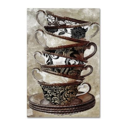 "Trademark Art 'Afternoon Tea I' by Color Bakery Graphic Art on Wrapped Canvas Size: 24"" H x 16"" W x 2"" D"