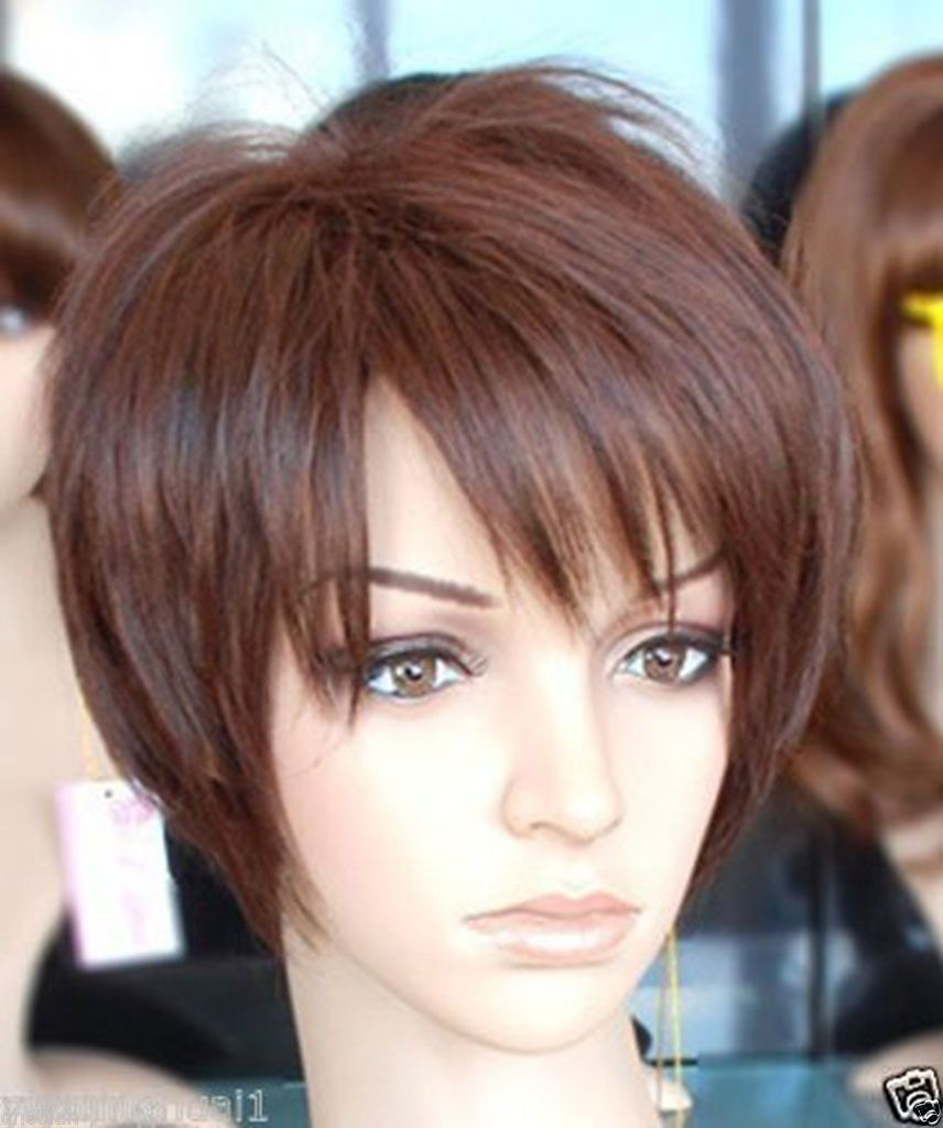 Women lady wigs short dark brown fashion cosplay wigs wig cap