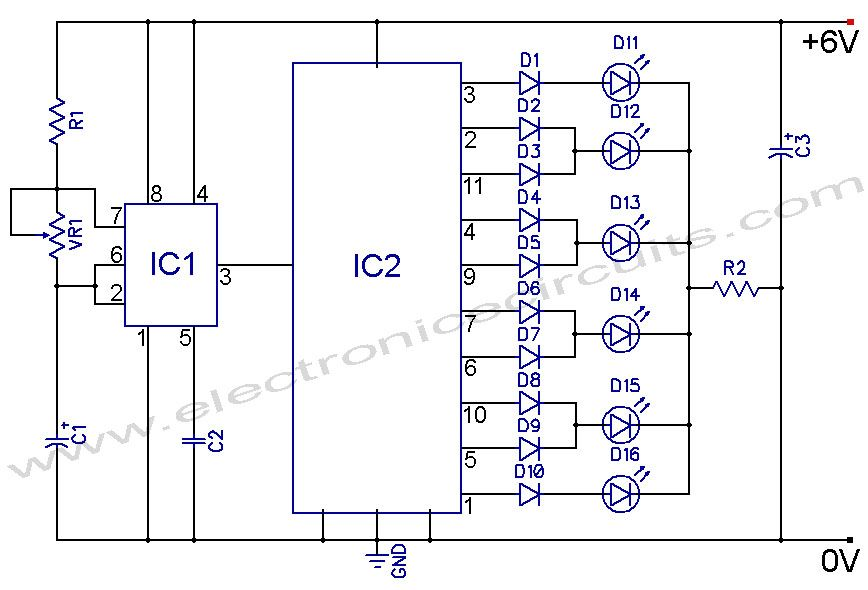 led knight rider circuit diagram using 4017 and 555 ic\'s | THANU ...