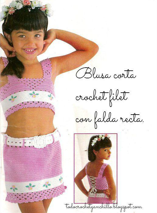 4 Blusas con faldas Crochet para Niñas / patrones   ganchillo ...