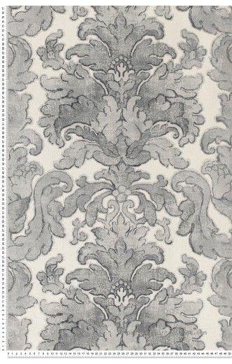 Bouquets classiques gris foncé - Papier peint Charleston de