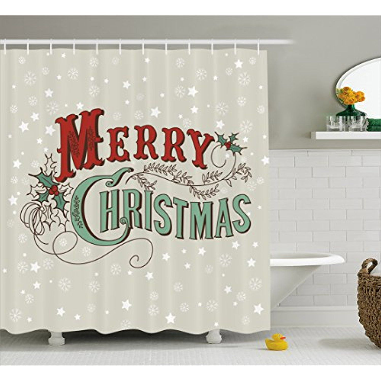 Christmas Shower Curtain By Ambesonne Stars And Snowflakes