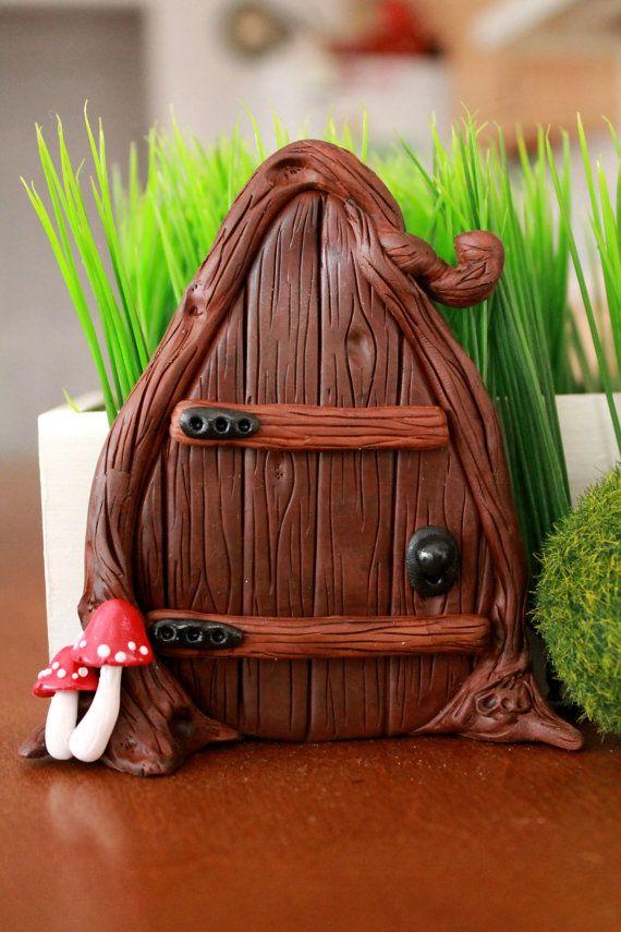 fairy door polymer clay miniature garden fairy garden garden accessory magical garden. Black Bedroom Furniture Sets. Home Design Ideas