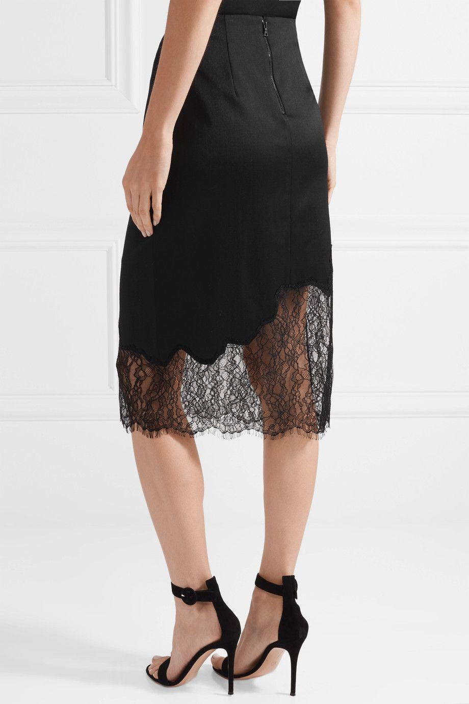 Alice + Olivia   Evana lace-paneled wool-blend crepe skirt   NET-A-PORTER.COM