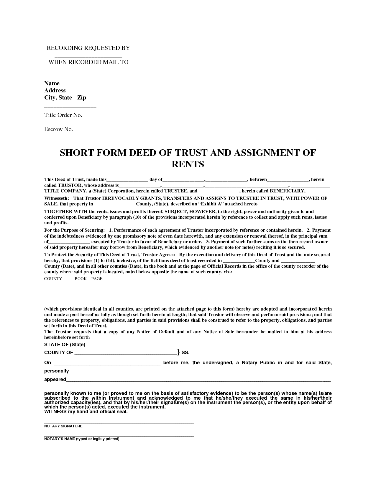 short form deed of trust  u0026 assignment of rents by