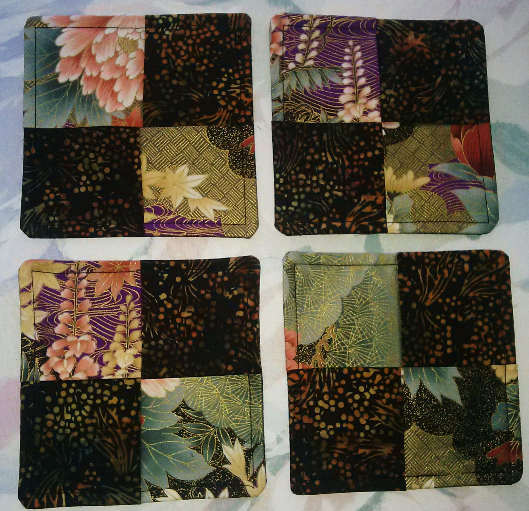 ORIENTAL MOTIF HANDMADE COASTERS, 100% cotton (4) PLEASE VISIT MY ... : ebay quilting fabric - Adamdwight.com