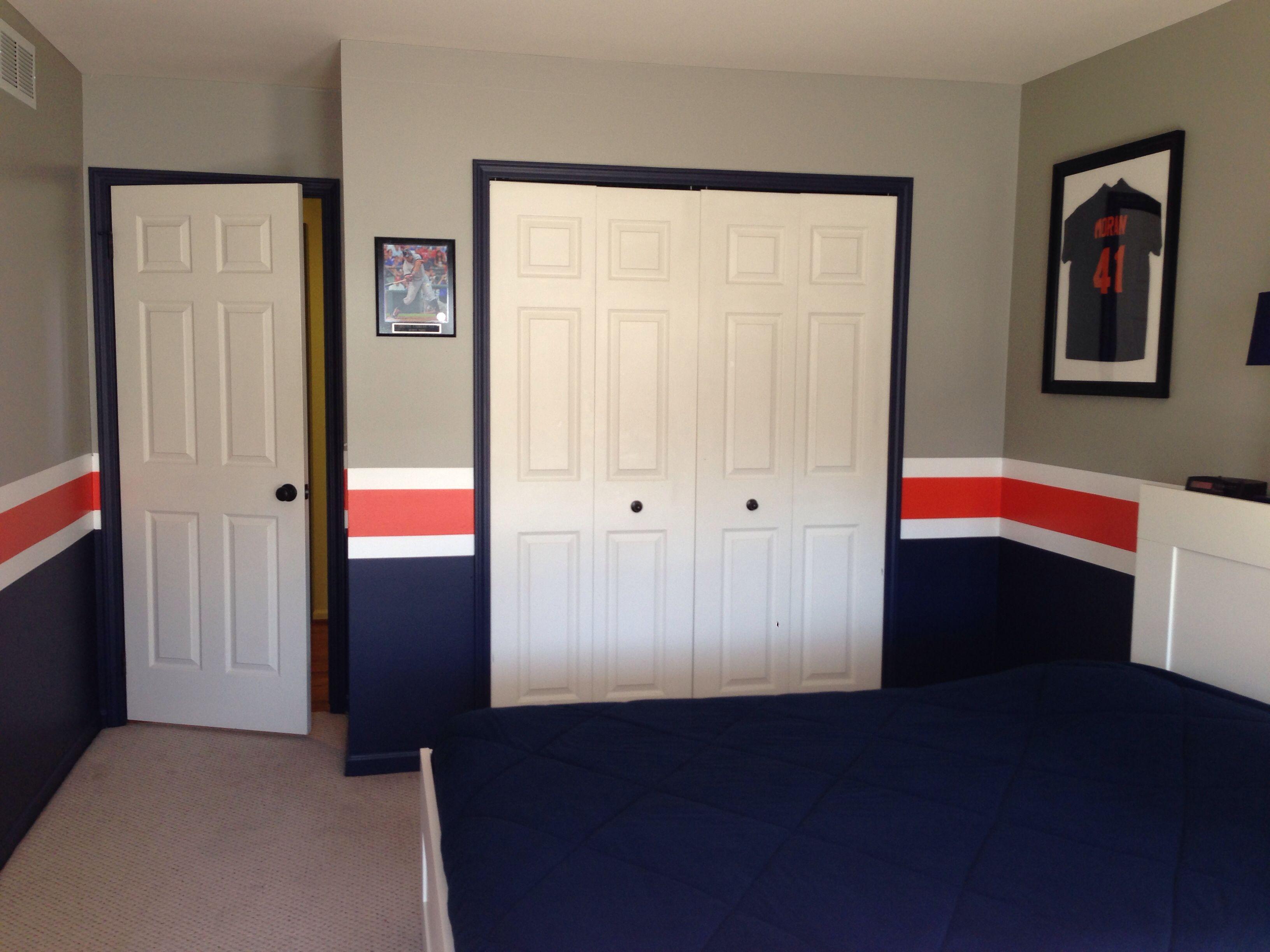 Detroit Tigers Baseball Room | Boy room paint, Boys bedroom ...
