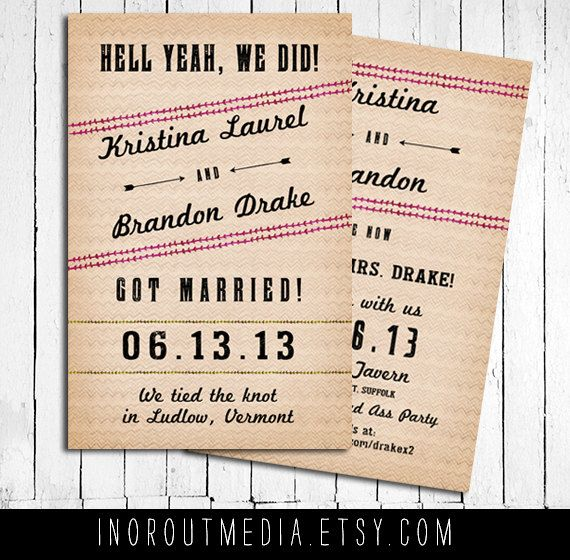Wedding Announcements - Eloped, We did, we said I do, we got married - invitation wording for elopement party