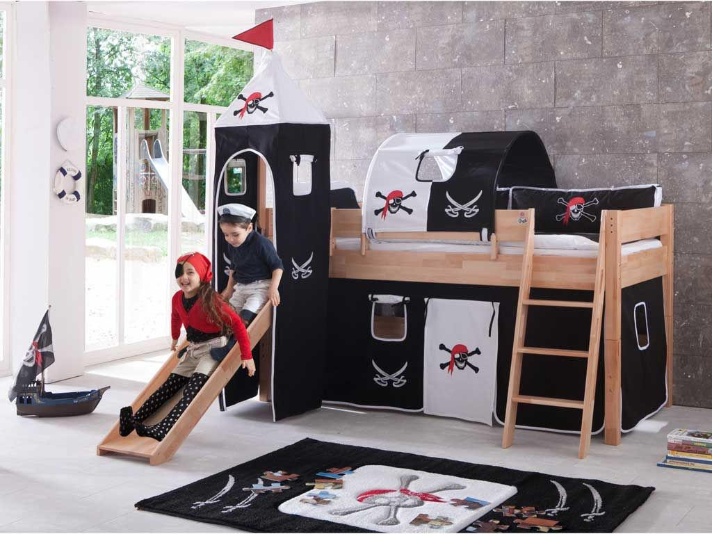 łóżko Antresola Dla Dzieci Pirat Mid Sleeper Bed Toddler Bed With Slide Bed Frame With Drawers