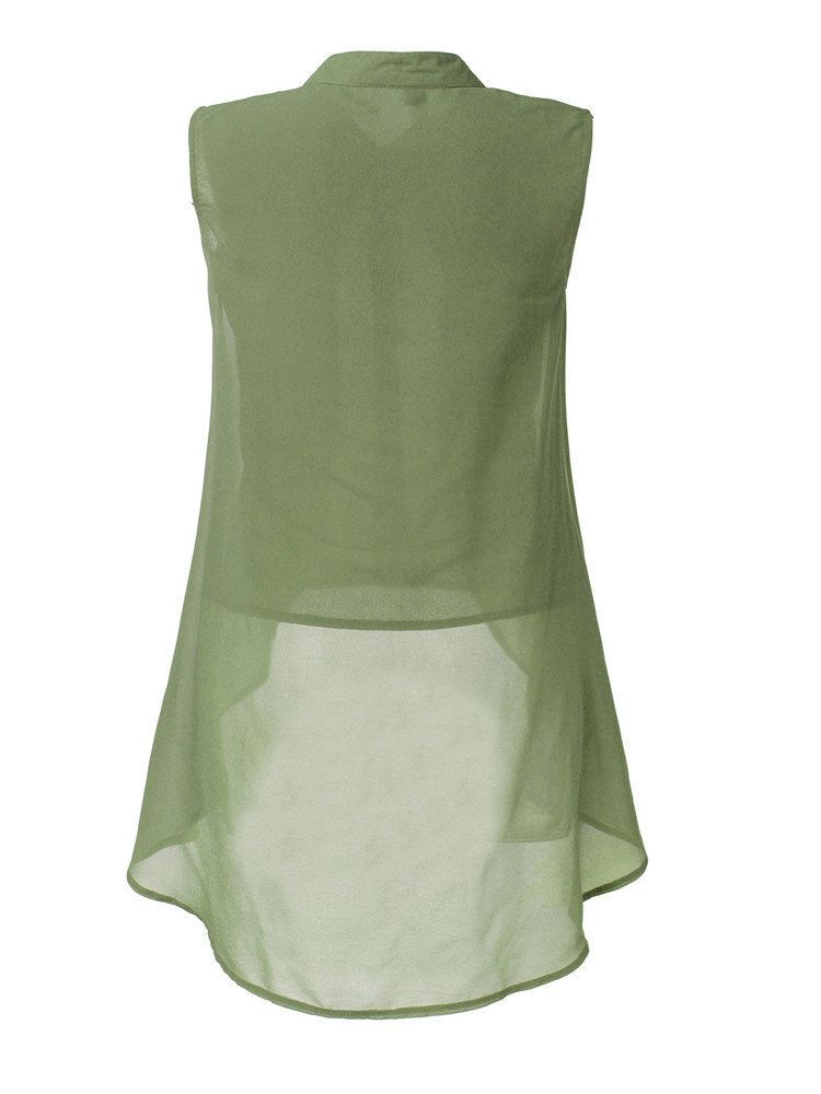0d8b7c5f07f Women Sleeveless V Neck Button Pure Color Irregular Hem Chiffon Vest...  ( 13) ❤ liked on Polyvore featuring tops