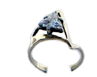 Diamond Cut Triangle Geometric Sterling Silver Engagement Ring