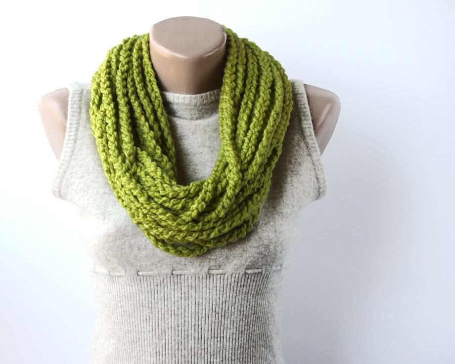 Lime green infinity scarf - circle chain crochet -  winter accessories spring fashion. $20.00, via Etsy.