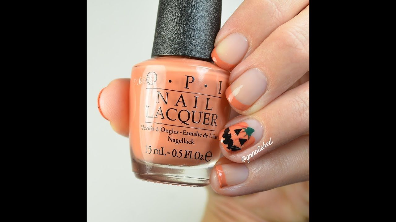 Full length tutorial for this pumpkin french tip nail design ...
