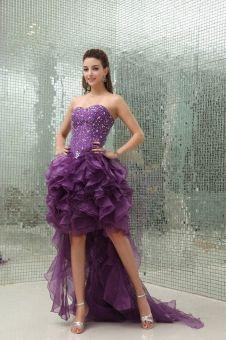 A-line Sweetheart Organza Asymmetrical Grape Tiered Evening Dress