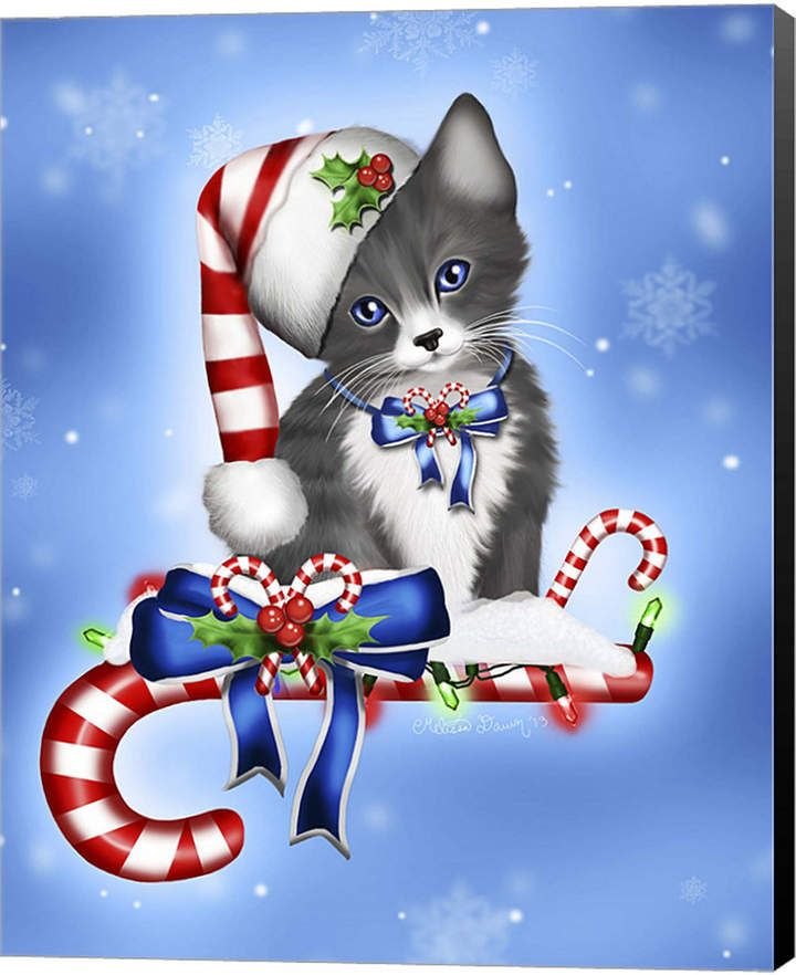 Candy Cane Kitten By Melissa Dawn Canvas Art Christmas