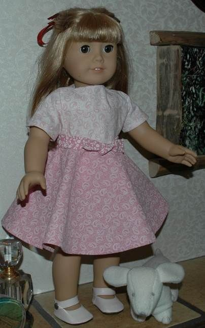 88a2b34ae Short Sleeve Dress with Circle Skirt for American Girl Type 18 Inch Dolls