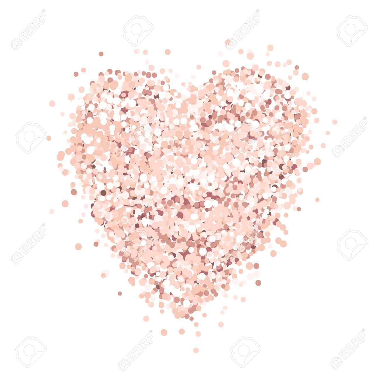 Heart Of Pink Gold Glitter On A White Background Template For Banner Card Save The Date Birthday Gold Glitter Background Pink And Gold Rose Gold Wallpaper
