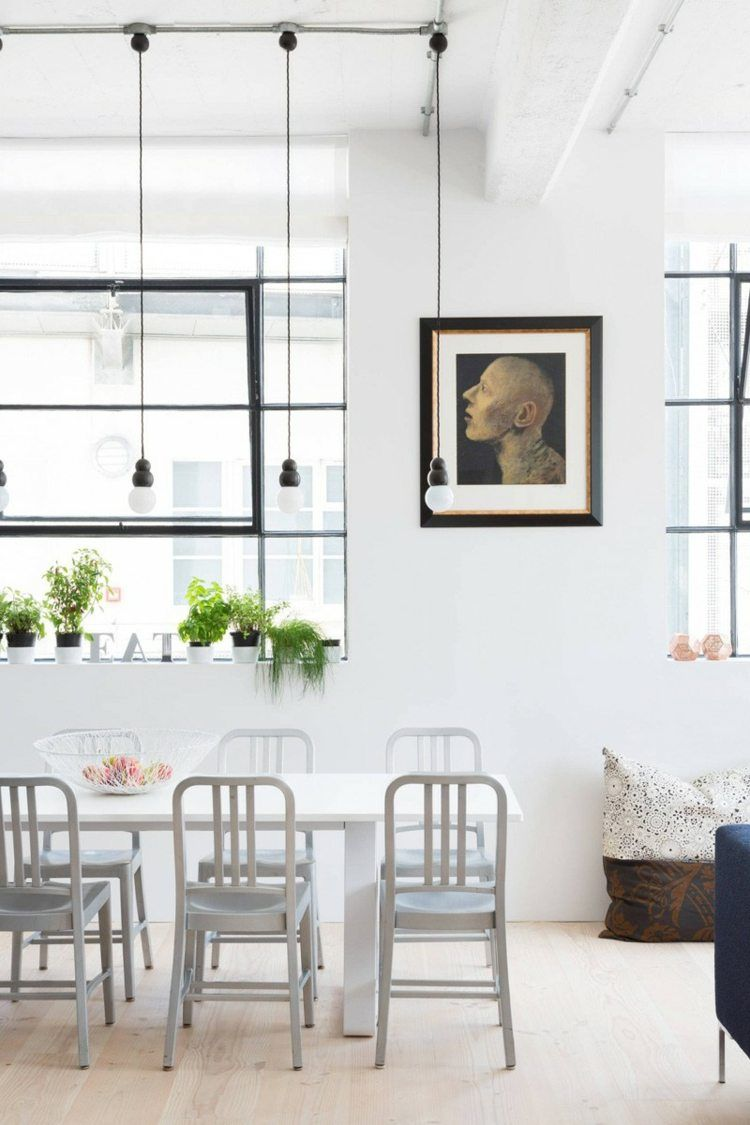 In der industriellen Wohnung sorgen Pflanzen für Farbe und Frische ...