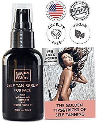 8fb23c06a3af7 Amazon.com  Self Tanner For Face - Anti Aging Sunless Tanning Serum  w Hyaluronic Acid Organic Oils   Vitamin B5 - Non Comedogenic Fake Tan F…