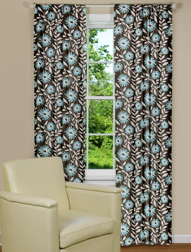 Blue and brown window curtains - Modern Blue And Brown Floral Window Curtains
