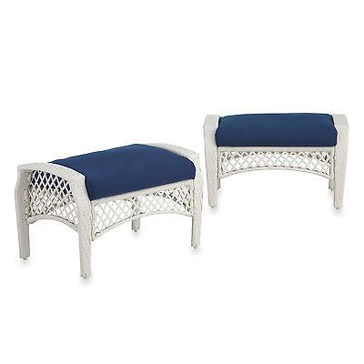 Blue Cushion Ottoman Wicker Footstool Furniture Stool Outdoor Patio Bench 2  Pcs | Ottoman Styles | Pinterest | Patio Bench, Ottomans And Stools