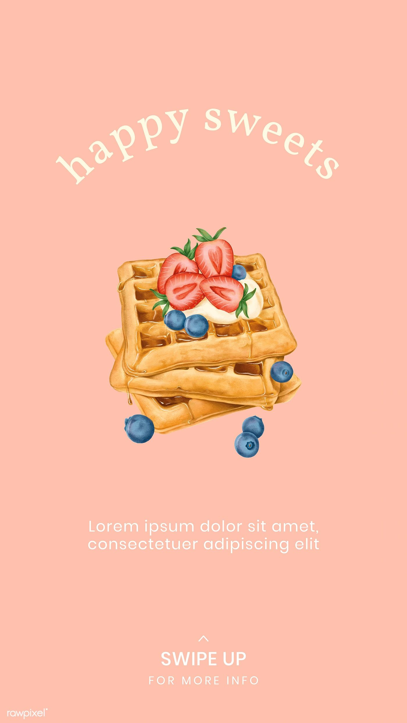 Hand drawn waffles Instagram story template vector free