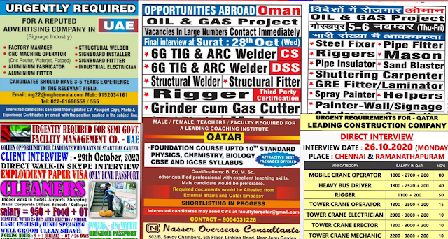 Times Jobs Assignment Abroad Times 31th October 2020 In 2020