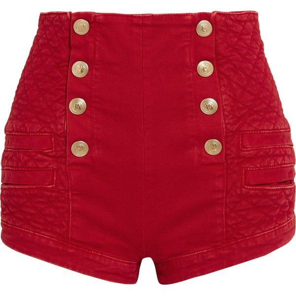 Pierre Balmain Button-detailed quilted denim shorts (€600) ❤ liked on Polyvore featuring shorts, bottoms, pants, red, high rise shorts, red jean shorts, denim short shorts, high waisted jean shorts and jean shorts