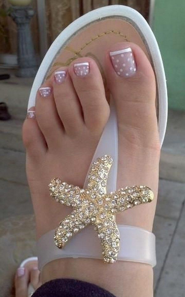 uñas para pies tipo francesa | Como pintarse las uñas ...