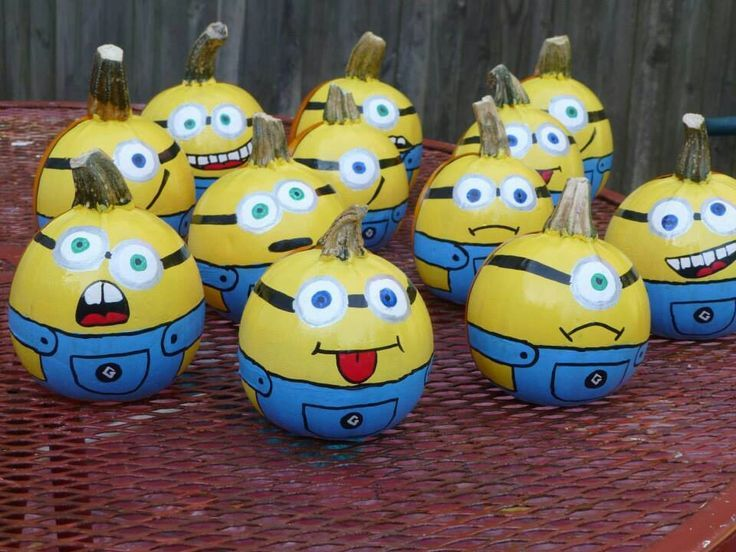 minions from despicable me painted pumpkins