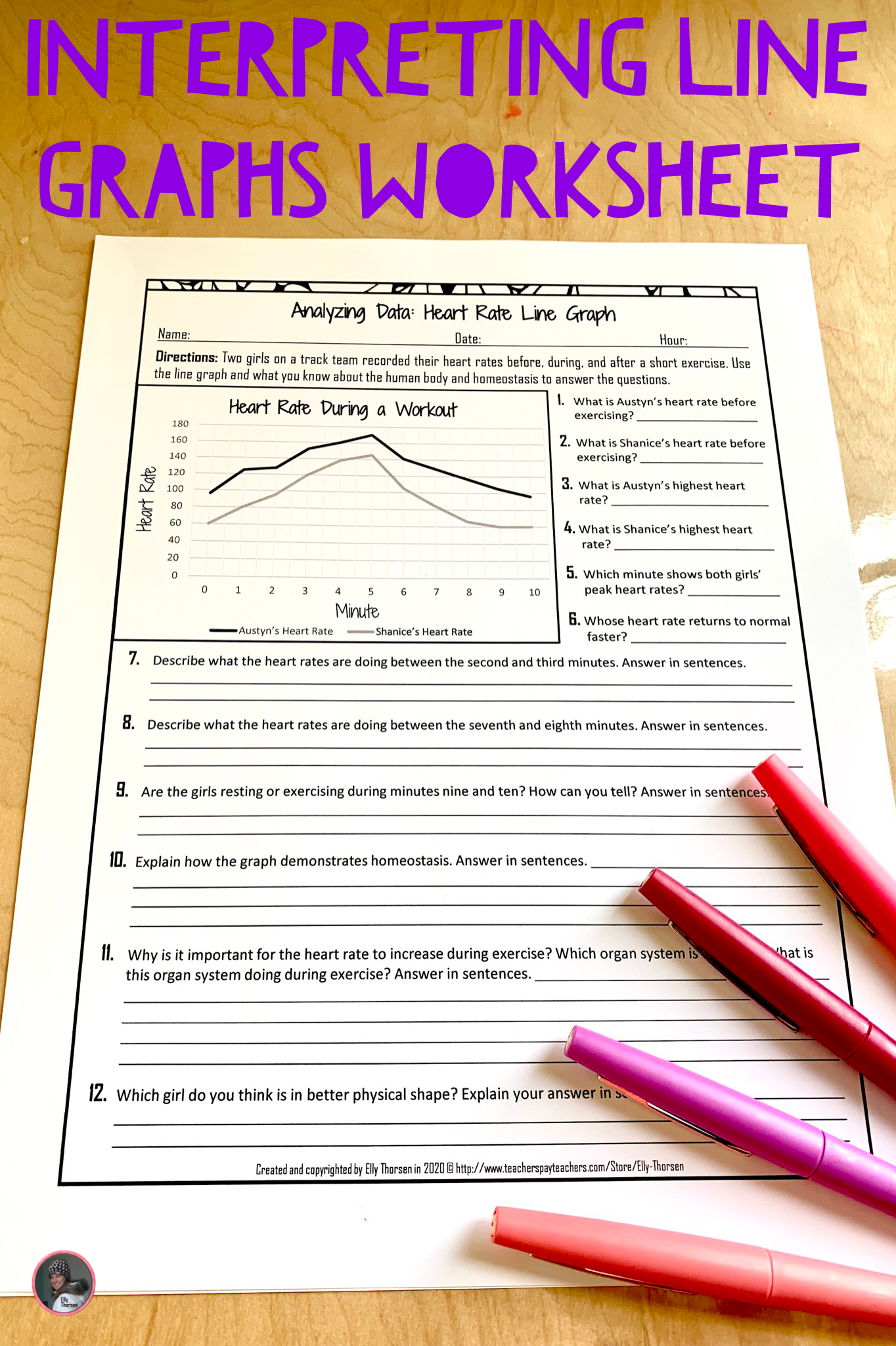 Yzing Data Heart Rate Line Graph Worksheet For