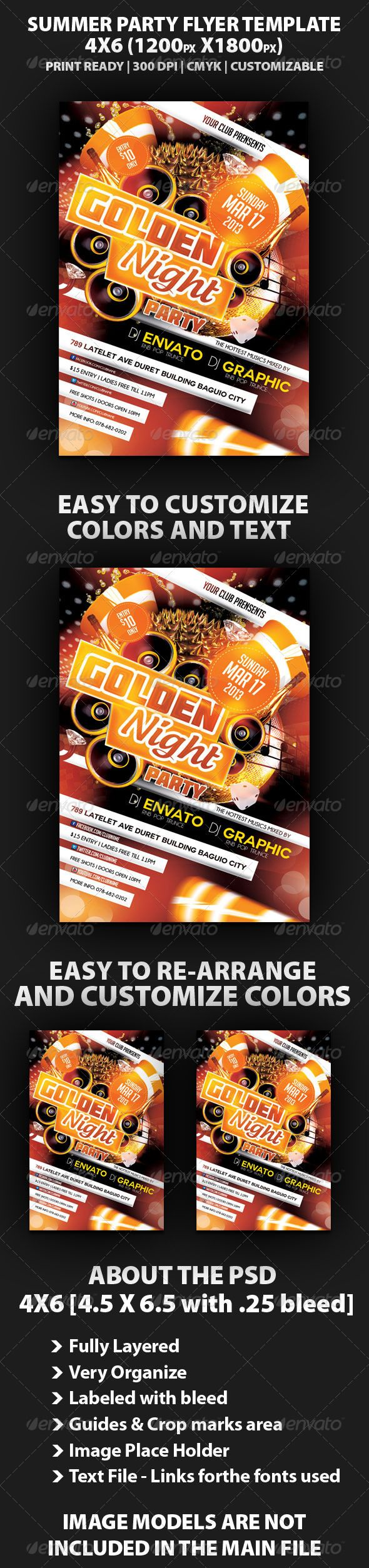 Golden Night Party Flyer Template  Party Flyer Night Parties And