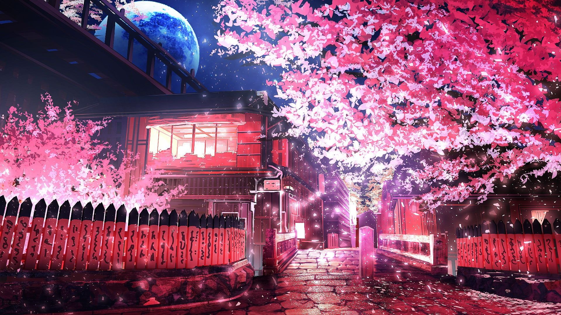 Pink Leafed Tree Anime Sakura Tree Road 720p Wallpaper Hdwallpaper Desktop Scenery Wallpaper Anime Scenery Wallpaper Anime Scenery