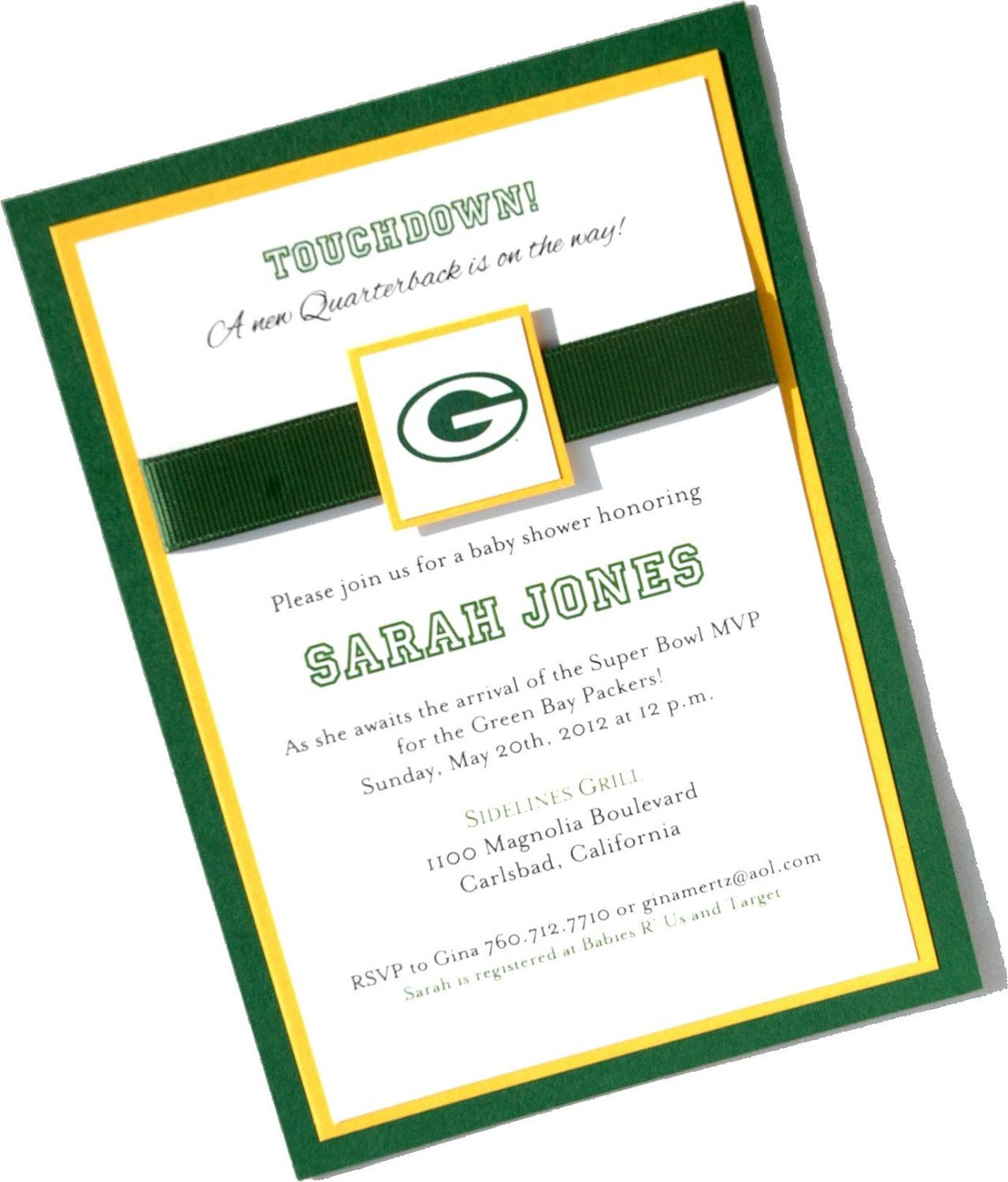 Custom Green Bay Packers Football Nfl Baby Shower Birth Announcement Birthday Invitation Packers Baby Shower Coed Baby Shower Invitations Football Baby Shower