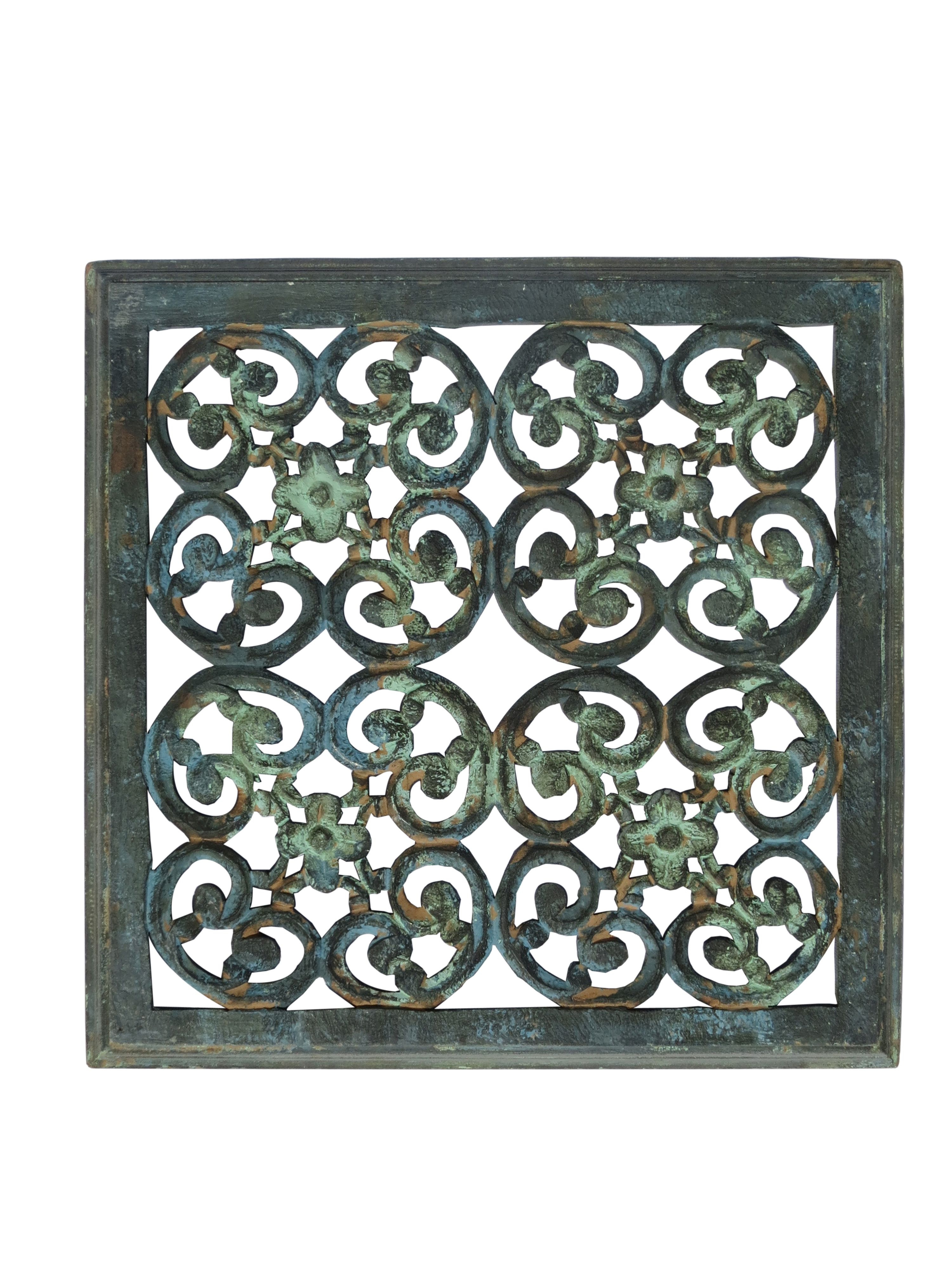 Mdf Carved Panel Design In Blue Green Distress Finish Reliable Durable Indian Authentic Handicrafts With A Wooden Wall Panels Hand Carved Wood Panel Design