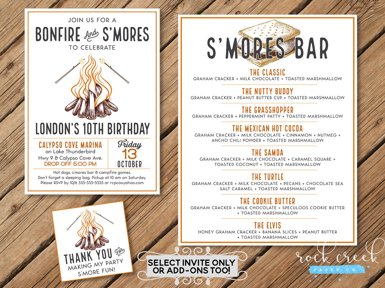 Bonfire Birthday Invitation, Bonfire & S\'mores Party, Bonfire Tags ...