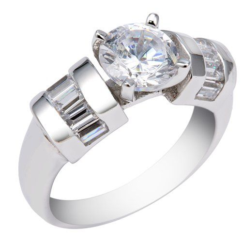 4MM Sterling Silver Ring With 7MM Round Cubic Zirconia and Baguette Shape Side Stones -