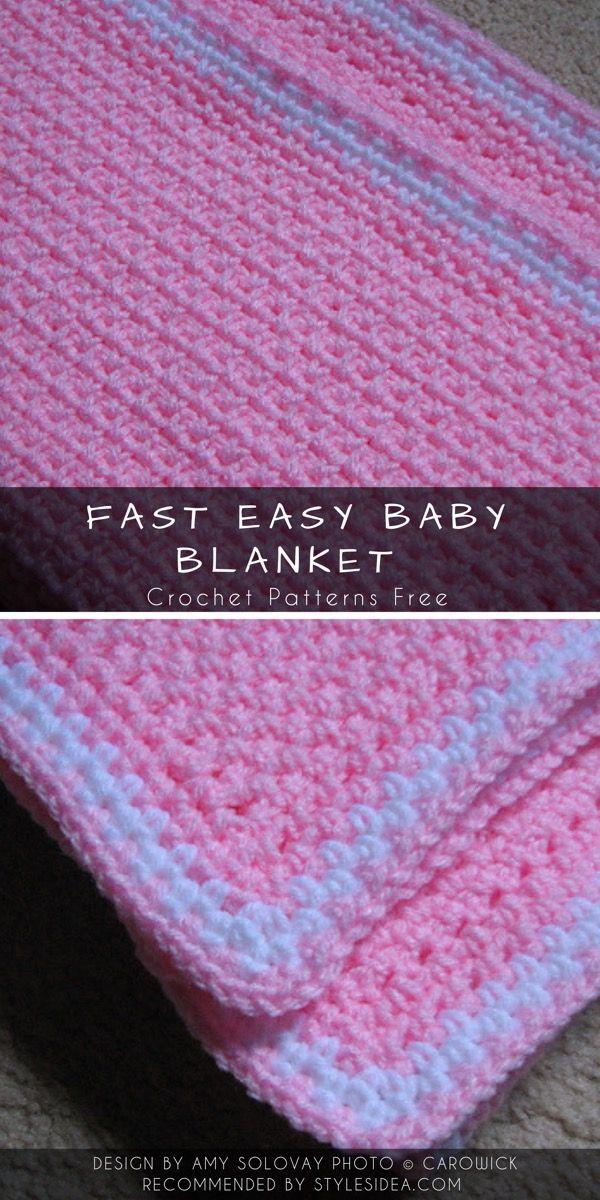Easy & Fast Baby Blanket Crochet Patterns Free   Styles Idea ...