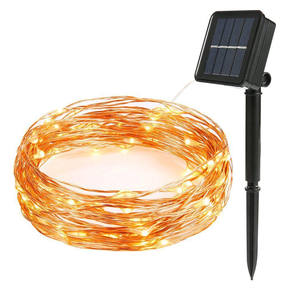 Led-lichterketten flight outdoor solar powered string lights ft  led starry