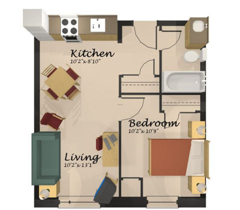 Home design one room apartment floor plan apartment for Single bedroom apartment design