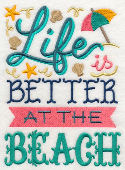 Life is Better at the Beach embroidered 100% cotton kitchen towel.  Apron, tote bag, canvas bag, pillow cover, by embroiderybybeverly on Etsy