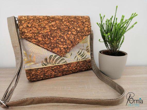 Removable shoulder bag, handbag, shoulder bag, jungle, cork and gold patterned pouch, golden imitati