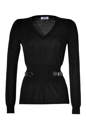 MOSCHINO C Knit Top with Buckled Side Detail in Black
