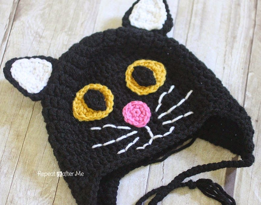 Crochet Black Cat Hat Repeat Crafter Me Crochet Cat Hat Crochet Hats Crochet Kids Hats
